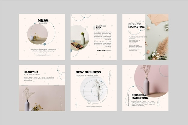 Marketing business instagram posts template Free Vector