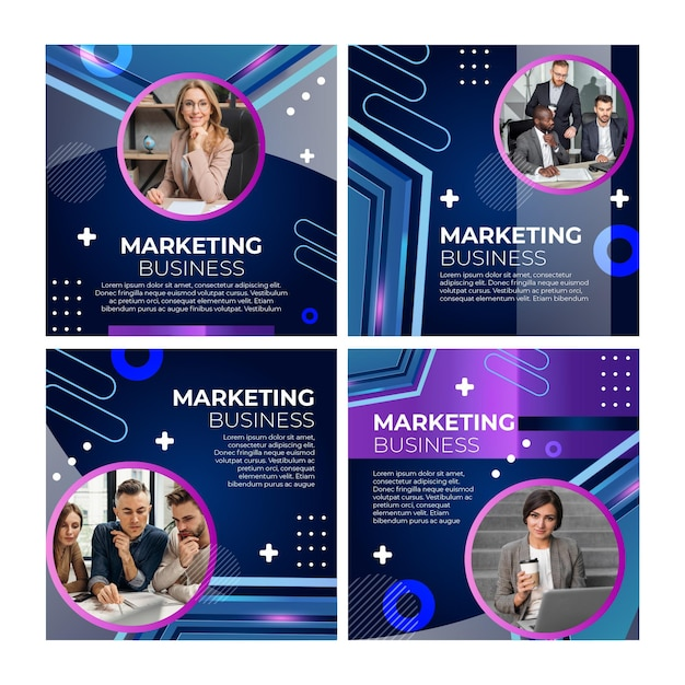 마케팅 비즈니스 instagram 게시물 템플릿 무료 벡터