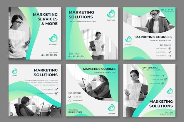 マーケティングビジネスのinstagramの投稿 Premiumベクター