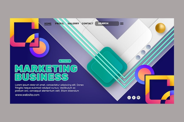Marketing business landing page template Free Vector