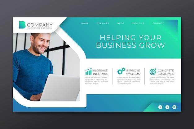 マーケティングビジネスのランディングページ Premiumベクター