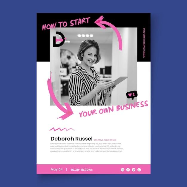Modello di poster di attività di marketing con foto Vettore gratuito