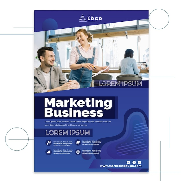 마케팅 사업 포스터 프리미엄 벡터