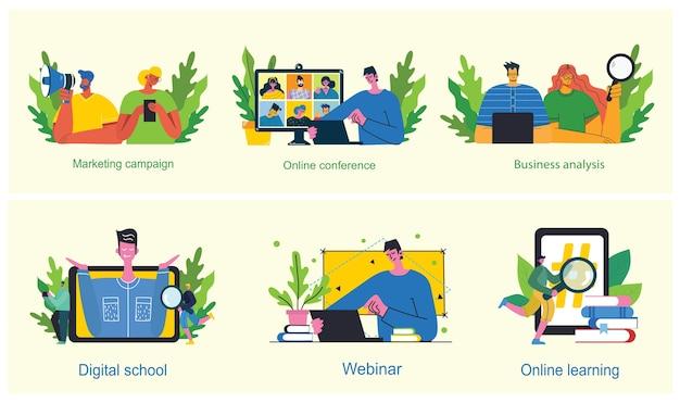 마케팅 캠페인, 화상 회의, 현대 평평하고 깨끗한 디자인의 비즈니스 분석 개념 그림. 남성과 여성은 노트북과 태블릿을 사용합니다. 프리미엄 벡터