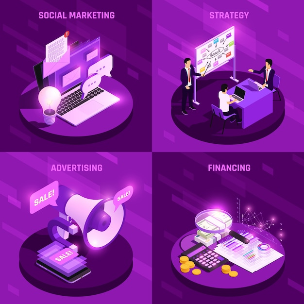 Marketing concept isometric glow design concept with various electronic devices vector illustration Free Vector
