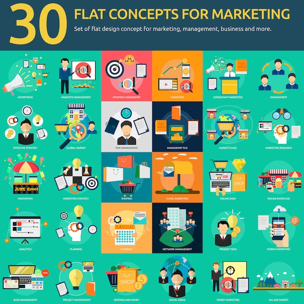 Marketing designs collection Free Vector