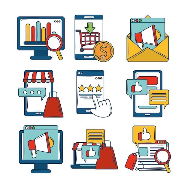 マーケティングデジタルメールメガホンリサーチファイナンスビジネスアプリアイコン Premiumベクター