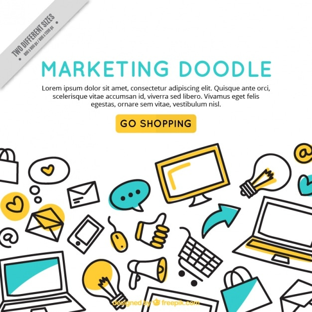 marketing doodle background template vector free download