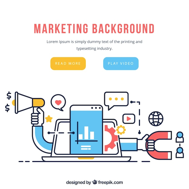 Marketing elements background in flat style Free Vector