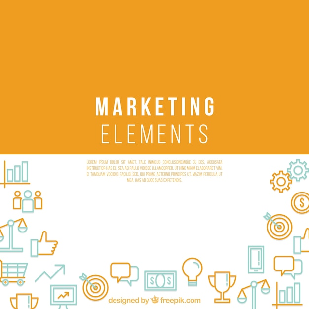 Marketing elements background with space in middle Free Vector