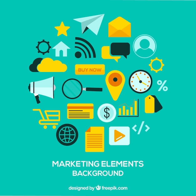 Marketing elements background Free Vector