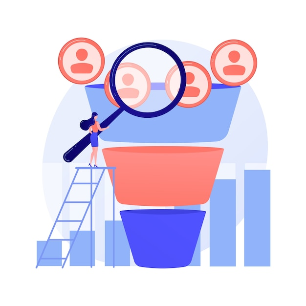 Marketing funnel abstract concept Free Vector