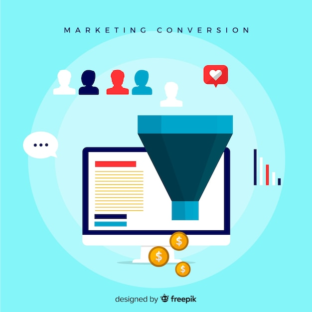 Marketing funnel background Free Vector