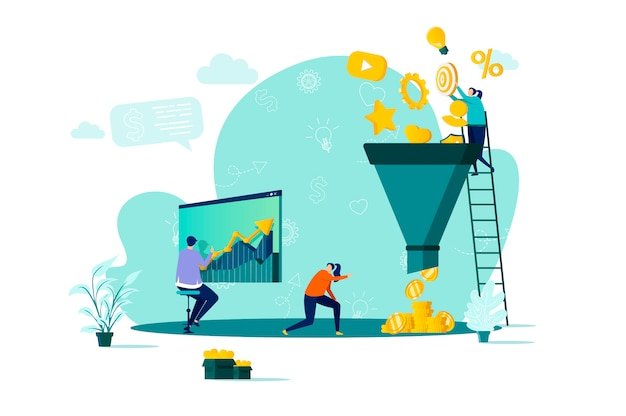 Marketing funnel concept in  style with people characters in situation Premium Vector