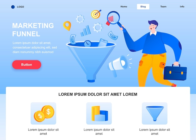 Marketing funnel flat landing page. marketer researching data web page. Premium Vector