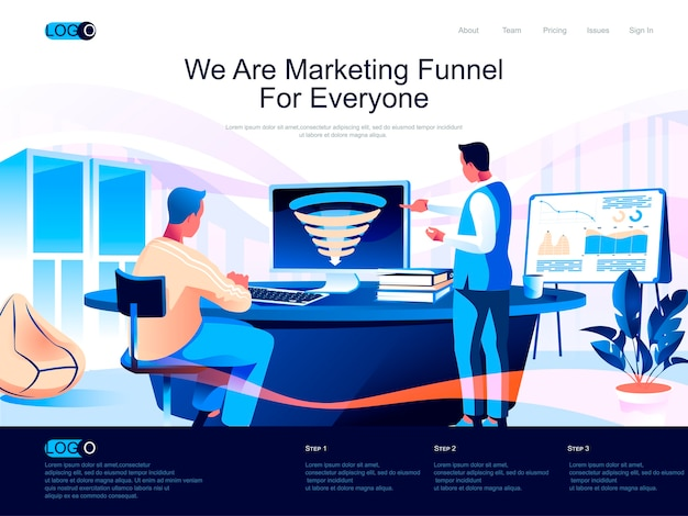 Marketing funnel isometric landing page with flat characters situation Premium Vector