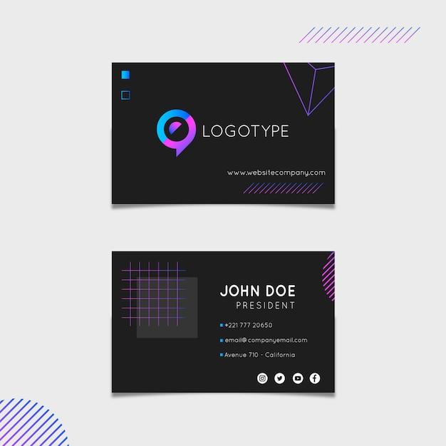 Шаблон маркетинговой горизонтальной визитной карточки Бесплатные векторы