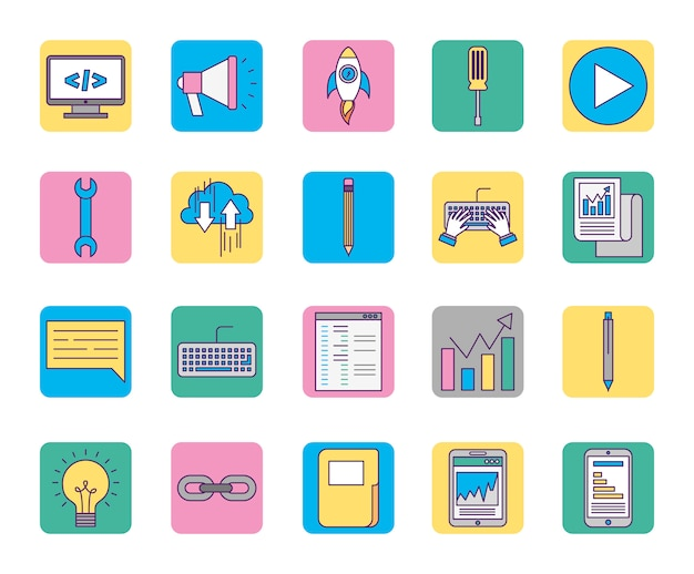 Marketing icons online business set icons Free Vector