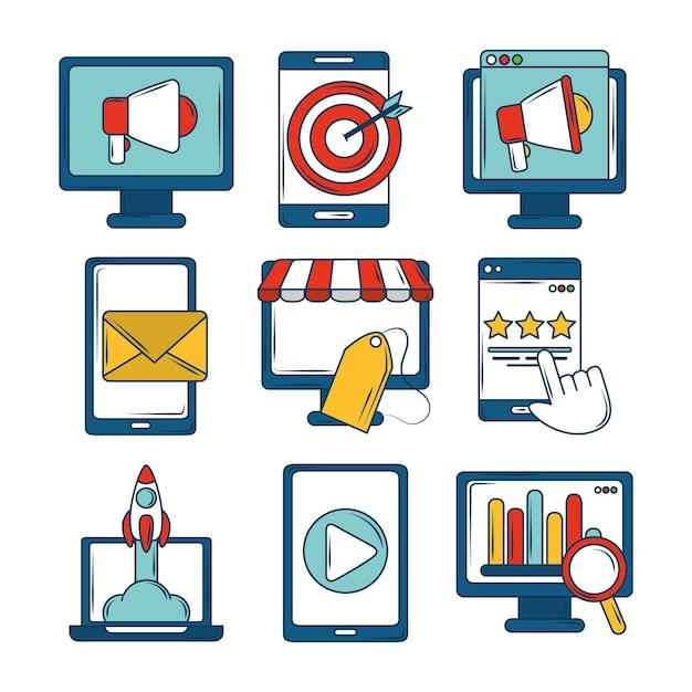マーケティングアイコンは、デジタルターゲットの電子メールスタートアップ金融ビジネスを設定します Premiumベクター