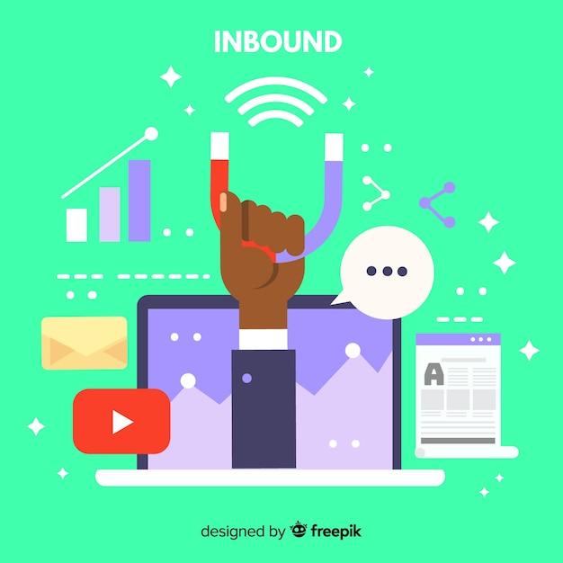 Marketing inbound background Free Vector