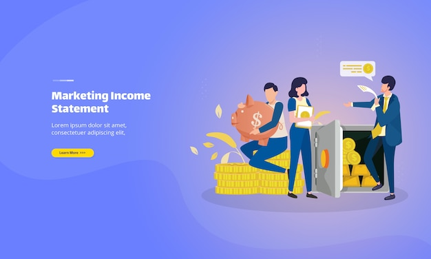 Marketing income statement landing page Premium Vector