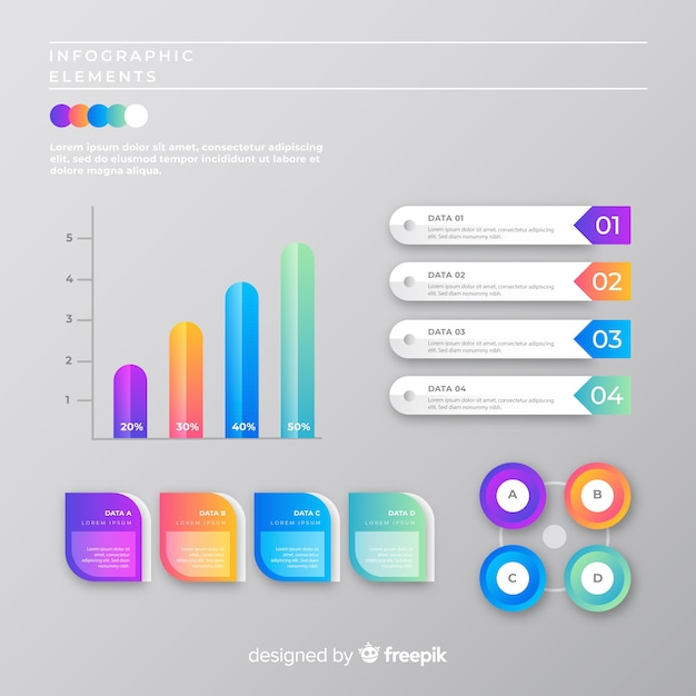 Marketing infographic collection template Free Vector