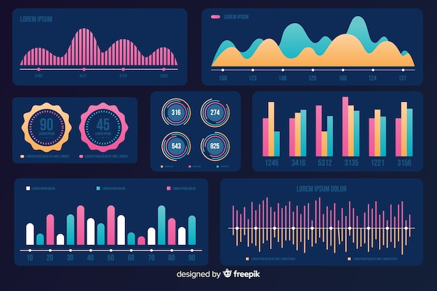 Маркетинг инфографики набор элементов Бесплатные векторы
