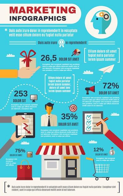 Marketing infographics set Free Vector
