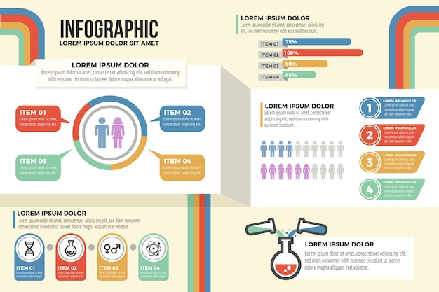Marketing  infographics with retro colors Free Vector