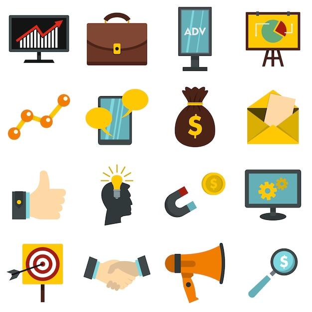 Marketing items set flat icons Premium Vector