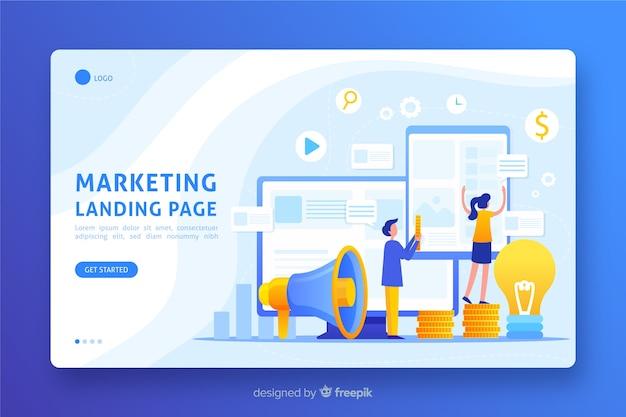 Marketing landing page flat design Free Vector