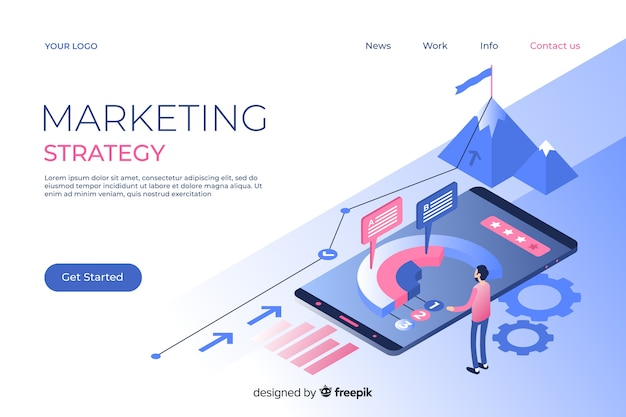 Marketing landing page in isometric style Free Vector