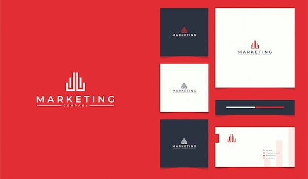 Marketing logo design with business card template Premium Vector