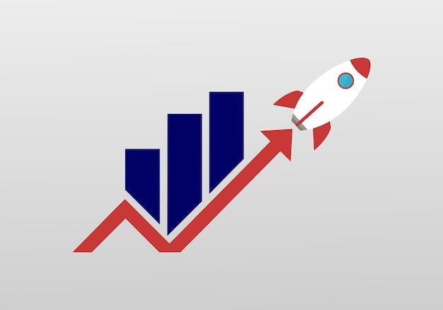 Marketing rocket logo Premium Vector