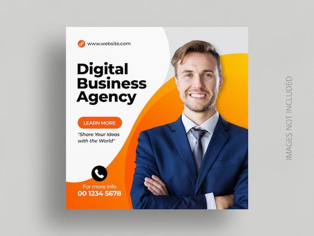 Marketing social media post banner square flyer template Premium Vector