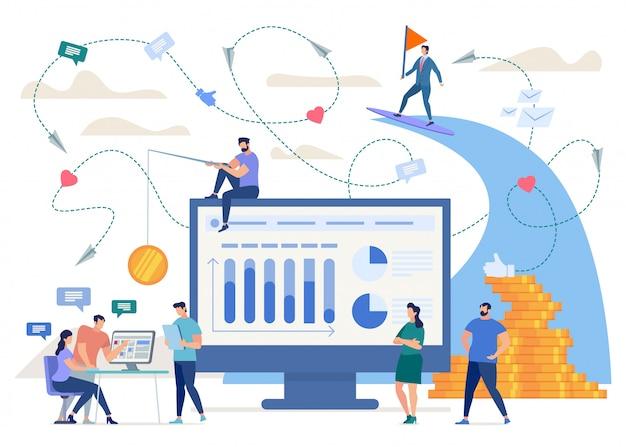 Marketing in social network, phishing, hidden advertisement online Premium Vector
