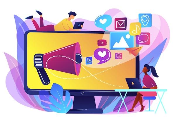 Специалисты по маркетингу и компьютер с мегафоном и значками социальных сетей. маркетинг в социальных сетях, социальные сети, концепция интернет-маркетинга. яркие яркие фиолетовые изолированные иллюстрации Бесплатные векторы
