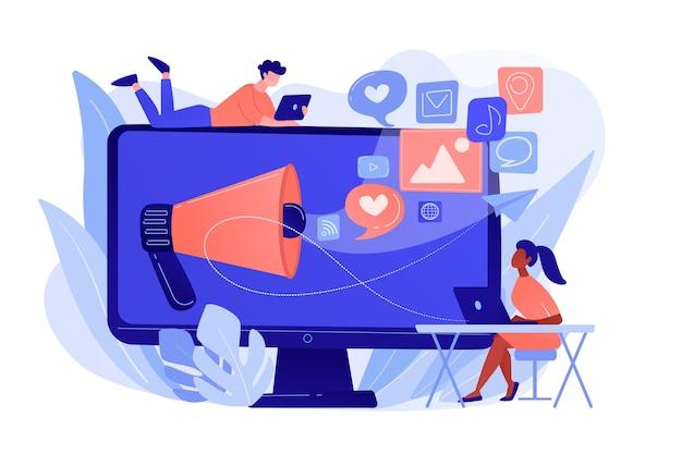 확성기와 소셜 미디어 아이콘이있는 마케팅 전문가 및 컴퓨터. 소셜 미디어 마케팅, 소셜 네트워킹, 인터넷 마케팅 개념. 분홍빛이 도는 산호 bluevector 고립 된 그림 무료 벡터