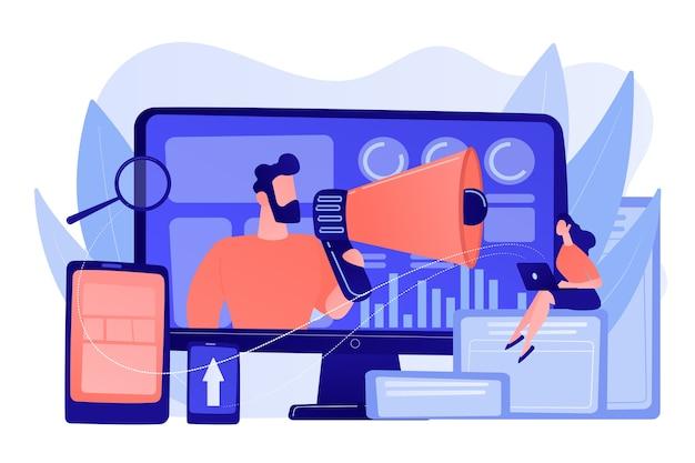 Strateghi di marketing e specialista di contenuti con megafono e dispositivi digitali. team di marketing digitale, concetto di strategia del team di marketing. pinkish coral bluevector illustrazione isolata Vettore gratuito