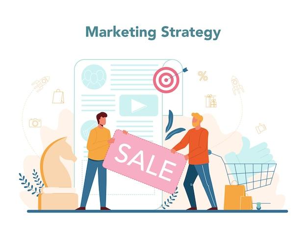 マーケティング戦略。広告とマーケティングの概念。 Premiumベクター