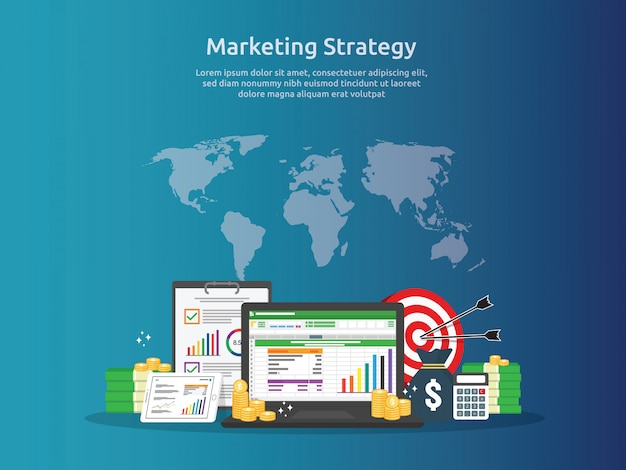 Marketing strategy and business analysis audit with charts Premium Vector