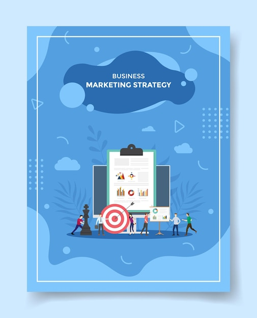 Marketing strategy concept people around computer chart clip board chess dart Premium Vector
