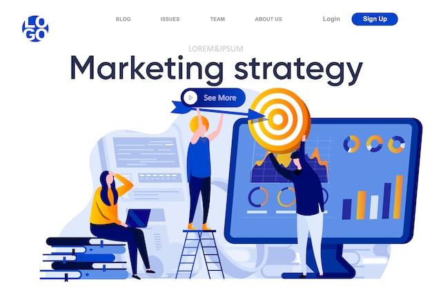 Маркетинговая стратегия плоской целевой страницы. команда маркетинга делая иллюстрацию исследования целевой аудитории. анализ данных и поиск потенциальных клиентов по составу веб-страниц с персонажами Premium векторы