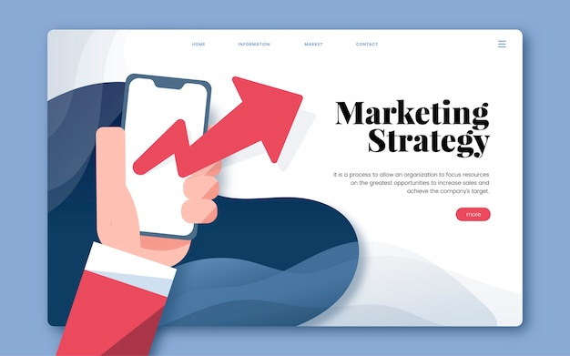 Marketing strategy informational website graphic Free Vector