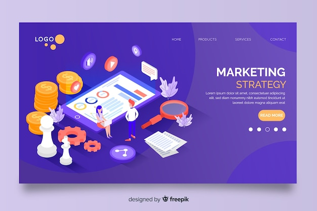 Marketing strategy in isometric design landing page Free Vector