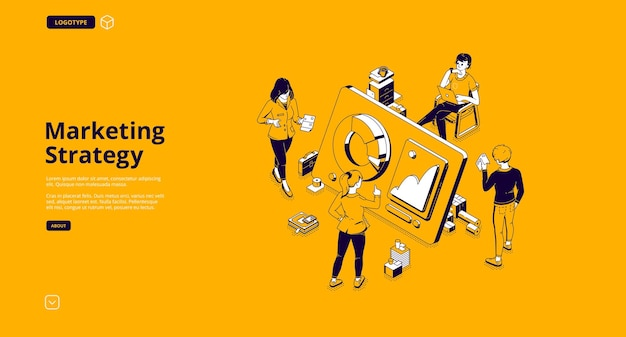 Marketing strategy isometric landing page Free Vector