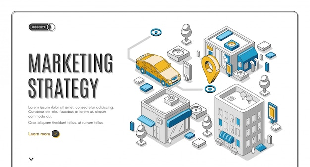 Marketing strategy isometric web banner, planning Free Vector