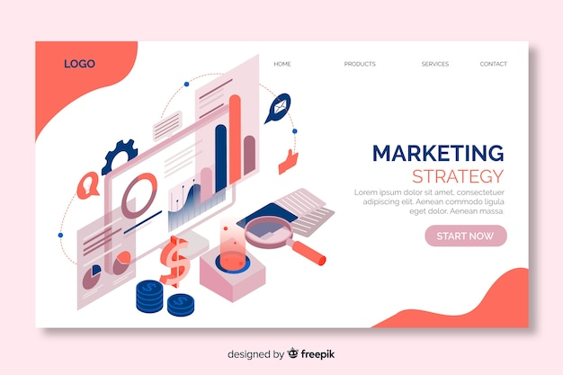 Marketing strategy landing page in isometric design Free Vector