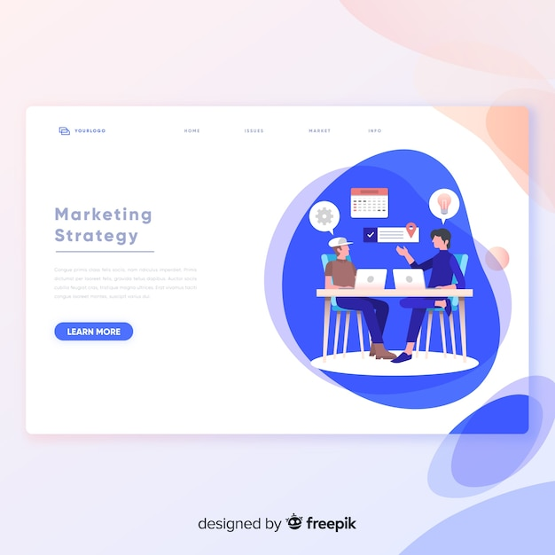 Marketing strategy landing page template Free Vector