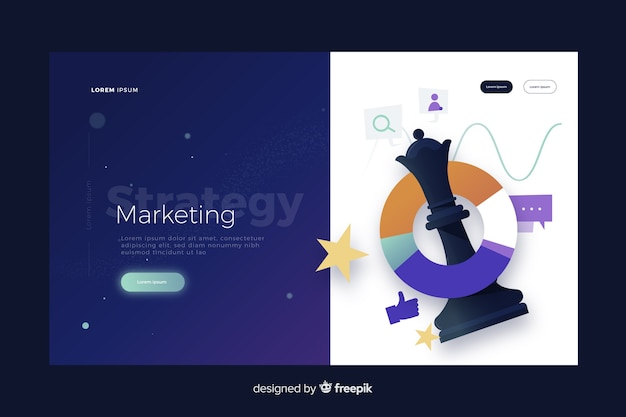 Marketing strategy landing page Free Vector